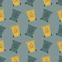 Müllcontainer zum Sortieren. Kunststoff, Glas. Recycling von Abfällen, Wertstoffen. Vektor nahtloses Muster in einem flachen Stil