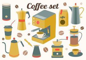 Kaffeeset mit Küchenzubehör für die Zubereitung eines Getränks. Hersteller, französische Presse, Kanne, Kaffeemaschine, Mühle, Getreide. Vektorillustration vektor