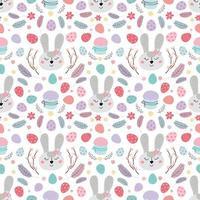 nahtloses Ostermuster mit Kaninchen. Muster mit Osterhasen, Eiern, Kuchen. Design für Textilien, Verpackungen, Verpackungen, Web, Druck. flache Illustration des Vektors vektor