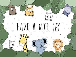niedliche Tiere tragen Tiger Panda Nilpferd Hund Giraffe Elefant und Löwe Gruß Cartoon Gekritzel vektor
