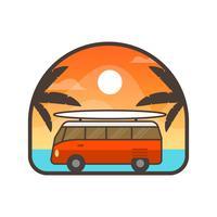 Flaches Auto-Abzeichen mit Steigung Hintergrund-Vektor-Illustrations-Schablone