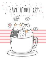 niedliche mollige Katze Kätzchen in Kaffeetasse Gruß Cartoon Gekritzel vektor