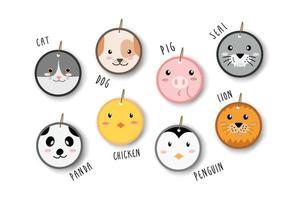 niedliche Tiere Katze Hund Schwein Robbe Panda Huhn Pinguin und Löwe Gesicht Abzeichen Tag Cartoon vektor