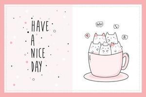 niedliche mollige Katze Kätzchen sitzen in Kaffeetasse Cartoon Gekritzel Karte vektor