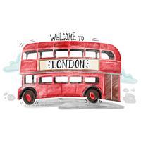Söt Röd London Bus vektor