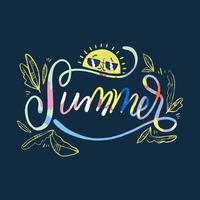 Bunte Beschriftung über Sommer mit Sun Charakter und Blättern vektor