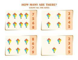 Zählspiel für Kinder. Zähle alle Objekte. Arbeitsblatt für Kinder. vektor