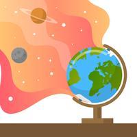 Flat Globe With Gradient Background Vektor Illustration