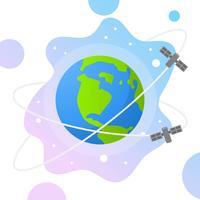 Flache Kugel mit Steigungsraum und Satellitenhintergrund-Vektor-Illustration