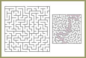 Labyrinth für Kinder. abstraktes quadratisches Labyrinth. Finde den Weg zum Geschenk. Spiel für Kinder. Puzzle für Kinder. Labyrinth-Rätsel. flache Vektorillustration lokalisiert auf weißem Hintergrund. mit Antwort frei Vektor