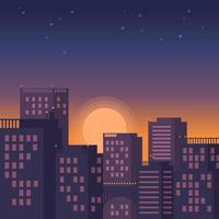 Stadtbild-Sonnenuntergang-Vektor