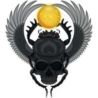 geflügelter Käfer mit Schädel vektor