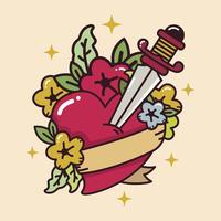 Herz Tattoo mit Schwert Vektor