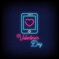 Alla hjärtans dag neonskyltar stil text vektor