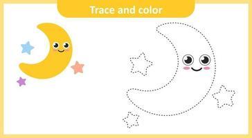 Spur und Farbe Stern und Mond vektor