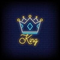 König Neon Zeichen Stil Text Vektor