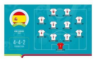 Spanien Line-Up Fußballturnier Endstufe Vektor-Illustration vektor