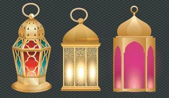 Vintage Gold arabische Laternen. realistischer Satz hängender leuchtender Lampen mit goldener arabischer Verzierung. islamisch leuchtend fanous isoliert auf transparentem Hintergrund frei Vektor