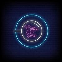 kaffe tid neon skyltar stil text vektor