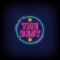 der beste Neonzeichen-Stiltextvektor vektor