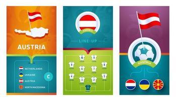 vertikales Banner des österreichischen Teams europäischer Fußball, das für soziale Medien gesetzt wird vektor