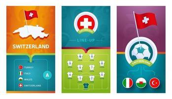 Vertikales Banner des europäischen Fußballs der Schweiz für soziale Medien vektor