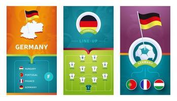 Vertikaler Banner-Set des europäischen Fußballs für soziale Medien vektor