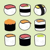 japanisches Essen Sushi Vektor Illustration Set