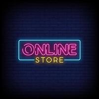 webbutik neonskyltar stil text vektor