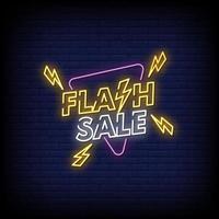 flash försäljning neonskyltar stil text vektor