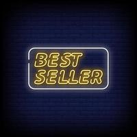 Bestseller Leuchtreklamen Stil Text Vektor