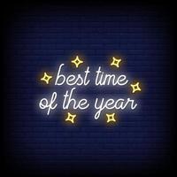 beste Zeit des Jahres Leuchtreklamen Stil Textvektor vektor