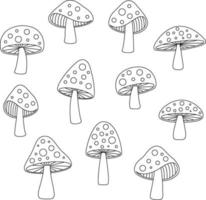 Handgezeichnete Pilze mit schwarzem Umriss vektor