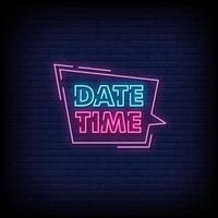 Datum Zeit Neon Zeichen Stil Text Vektor