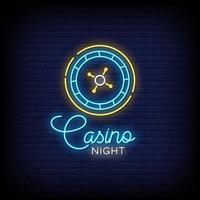 casino natt neonskyltar stil text vektor