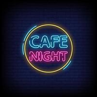 Cafe Nacht Leuchtreklamen Stil Text Vektor
