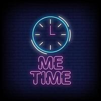 Ich Zeit Neon Zeichen Stil Text Vektor