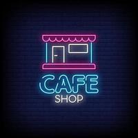 café butik neon skyltar stil text vektor