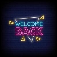 Willkommen zurück Neonzeichen Stil Text Vektor