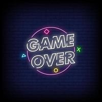 Spiel über Leuchtreklamen Stil Textvektor vektor