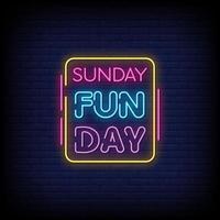 Sonntag Funday Leuchtreklamen Stil Text Vektor