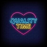 Qualitätszeit Neonzeichen Stil Textvektor vektor