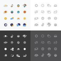 Vektor Web Icons Set - Raum Sonne und Mond Sammlung von flachen Design-Elementen. Universumskonzept.