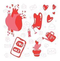 Illustrationen Satz von Liebes- und Herzelementen. handgezeichnete und flache Idee für Postkarte. 14. Februar, Valentinstag, Hochzeit. vektor