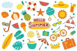 Hallo Sommerkollektion stellte flaches Design auf weißem Hintergrund ein. bunte Sommersymbole und -objekte. vektor