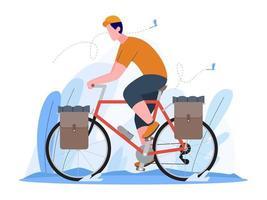 Mann, der eine reisende Fahrradvektorillustration reitet vektor