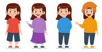 Mädchen mit verschiedenen Posen und Kleidungskarikaturillustration vektor