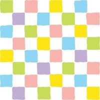 bunte Pastellquadrate Gitterhintergrund nahtlose Musterverpackung kariertes Muster minimalistische mehrfarbige Grafik zufällige Blöcke Regenbogenmosaik Tapete vektor
