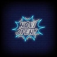 nu öppnar neonskyltar stil textvektor vektor