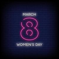 Frauentag Neonzeichen Stil Text Vektor